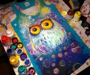 owl, art, and colors image