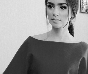 black and white, pretty, and brunette image