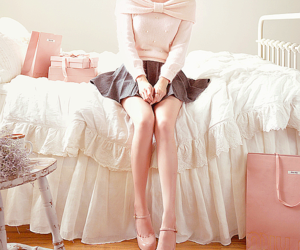 lace, pink, and girl image