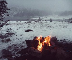 bonfire, cold, and fire image