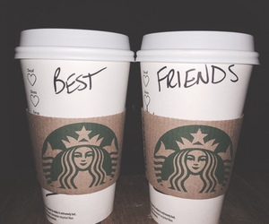 best friends and starbucks image