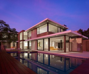 house, pink, and pool image
