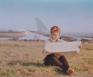 girl, map, and airplanes image