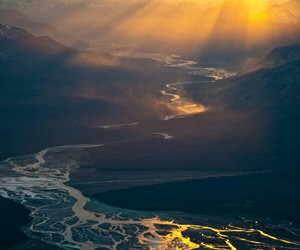 nature, river, and sun image