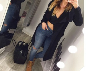black jacket, timberland boots, and black bralet image