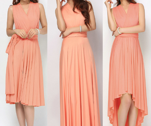 prom dress, salmon, and bridesmaid dress image