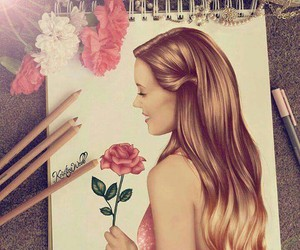 art, beauty, and flower image