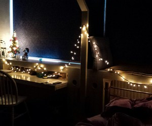 bed, decoration, and lights image