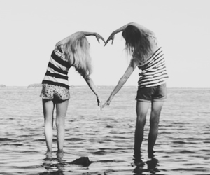 beach, best friends, and black and white image