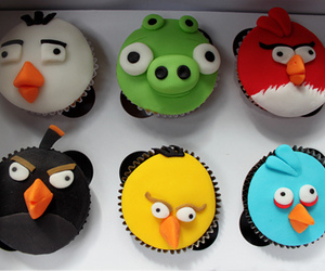 angry birds, cupcake, and food image