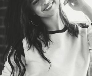 selena gomez, black and white, and smile image