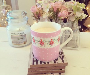 pink, cup, and flowers image