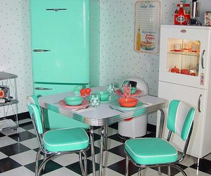 home, kitchen, and turquoise image