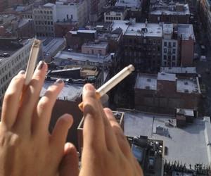 cigarette, smoke, and city image