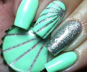 nails, pretty, and blue image