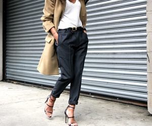 fashion, coat, and heels image