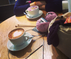 friends, coffee, and knitting image