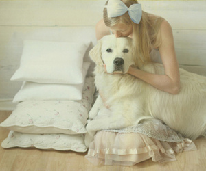 dog, girl, and white image