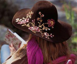 hat, flowers, and boho image