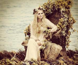 blonde, dress, and flowers image