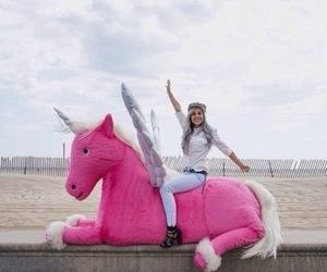 unicorn, girl, and pink image