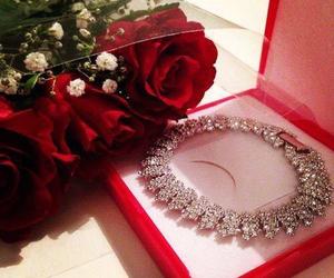 rose, diamond, and flowers image