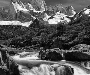 black and white, mountain, and mountains image