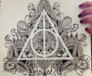 art, freehand, and deathlyhallows image