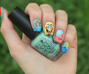 nails, spongebob, and nail art image