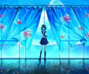 anime, blue, and fish image