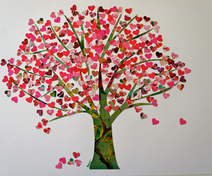 love, tree, and hearts image