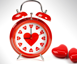 love, clock, and red image