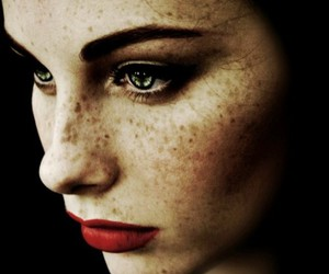 girl, freckles, and red lips image