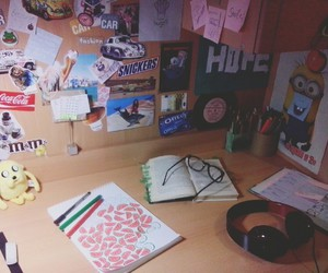 collag, desk, and drawing image