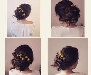 brunette, curls, and flowers image