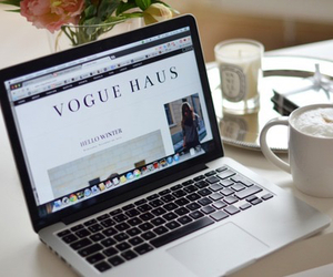 coffee, vogue, and laptop image