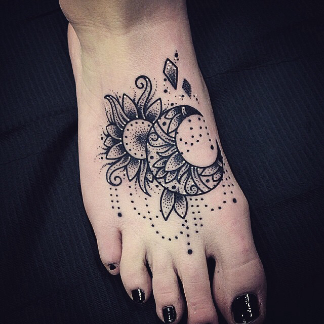 tattoo, foot tattoo, and moon image