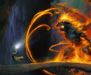 gandalf, balrog, and lord of the rings image