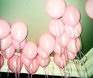 pink, balloons, and grunge image