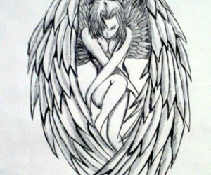 angel, draw, and wings image