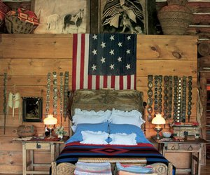 bed, flag, and room image