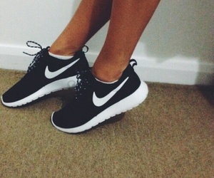 black and white, nike, and trainers image