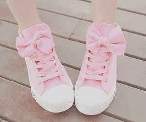 bow, pink, and shoes image