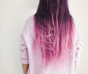 girl, long hair don't care, and pink ombré hair image