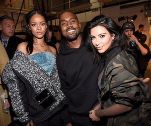 rihanna, kim kardashian, and kanye west image
