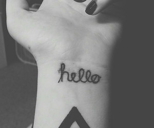 alternative, black and white, and hello image
