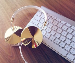 headphones, gold, and keyboard image