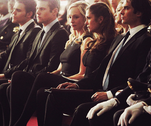 the vampire diaries, elena gilbert, and stefan salvatore image