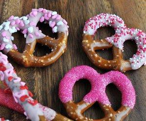 food, pink, and pretzel image