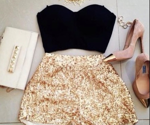black, gold, and high waist image